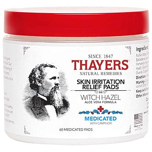Thayers Medicated Witch Hazel with Organic Aloe Vera Formula Astringent Pads- 60 ea