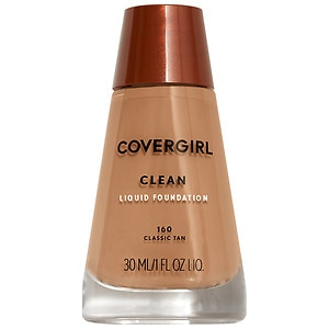 CoverGirl Clean Liquid Foundation for Normal Skin, Classic Tan 160, 1 fl oz