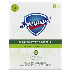 Safeguard Antibacterial Soap Bars, White with Aloe- 8 ea