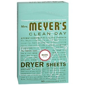 Mrs. Meyer's Clean Day Dryer Sheets, Basil- 80 sh