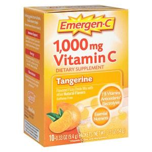 Emergen-C 1000 mg Vitamin C Travel Box, Tangerine- 10 packets