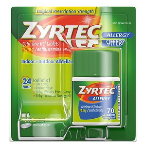 Zyrtec Allergy Tablets, 10 mg- 70 ea