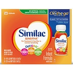 Similac Advance Sensitive, On-the-Go Infant Formula with Iron, Ready to Feed, 8 fl oz Bottles- 6 ea