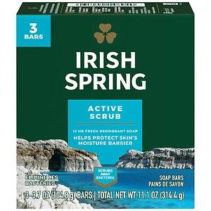 Irish Spring Deep Action Scrub Bath Bar, 3 pk