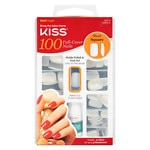 Kiss 100 Full Cover Nails, Short Length, Square- 1 set