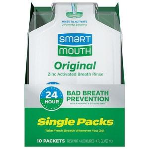 SmartMouth 12-Hour Fresh Breath Travel Packs, Clean Mint- 10 ea