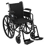 Drive Medical Cruiser III Lightweight Wheelchair w FlipBack Removable Adj Desk Arms & FootRest, Black, 16 Inch- 1 ea