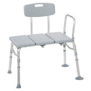 Drive Medical Plastic Transfer Bench w Adjustable Backrest- 1 ea