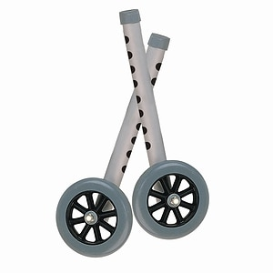 Drive Medical Walker Wheels with Two Sets of Rear Glides for Use with Universal Walker, 5 Inch, Silver- 1 ea