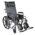 Drive Medical Silver Sport Reclining Wheelchair with Detachable Desk Arms and Leg Rest, 18 Inch- 1 ea