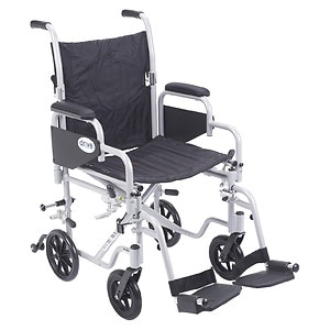 Drive Medical Poly Fly Light Weight Transport Chair Wheelchair with Swing away Footrest, 18 Inch- 1 ea