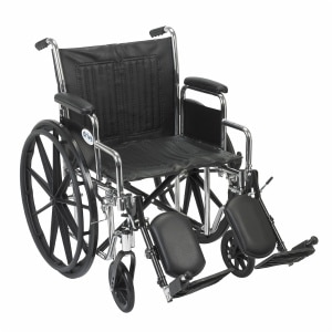 Drive Medical Chrome Sport Wheelchair with Detachable Desk Arms and Elevating Leg Rest, 16 Inch