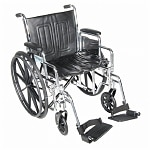 Drive Medical Chrome Sport Wheelchair with Detachable Full Arms and Swing Away Footrest, Black, 18 inch- 1 ea