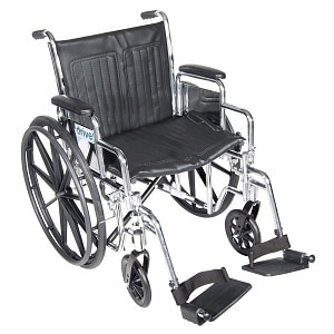 Drive Medical Chrome Sport Wheelchair with Detachable Desk Arms and Swing Away Footrest, 16 inch