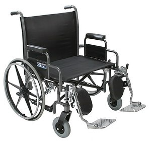 Drive Medical Sentra Heavy Duty Wheelchair with Detachable Desk Arms, Silver Vein, 30 Inch- 1 ea