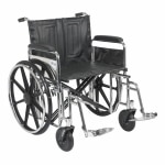 Drive Medical Sentra Extra Heavy Duty Wheelchair w Detachable Full Arms and SwingAway Footrest, Black, 24 Inch- 1 ea