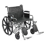 Drive Medical Sentra EC Heavy Duty Wheelchair with Detachable Desk Arms and Elevating Leg Rest, Black, 24 inch- 1 ea
