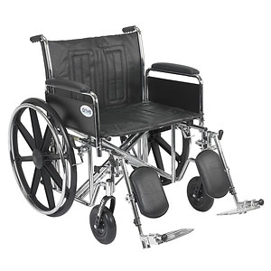 Drive Medical Sentra EC Heavy Duty Wheelchair with Detachable Full Arms and Elevating Leg Rest, Black, 24 inch