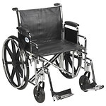 Drive Medical Sentra EC Heavy Duty Wheelchair with Detachable Desk Arms and SwingAway Footrest, Black, 24 inch- 1 ea