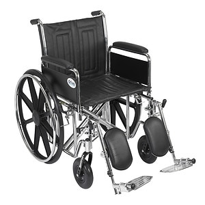 Drive Medical Sentra EC Heavy Duty Wheelchair with Detachable Full Arms and Elevating Leg Rest, 20 inch