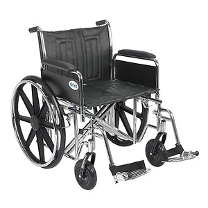 Drive Medical Sentra EC Heavy Duty Wheelchair with Detachable Full Arms and SwingAway Footrest, Black, 22 inch- 1 ea