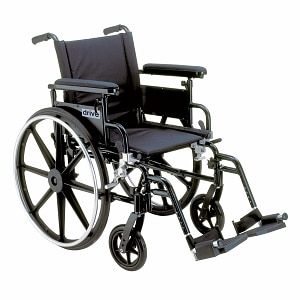 Drive Medical Viper Plus GT Wheelchair w Flip Back Removable Adjustable Desk Arm and Foot Rest, Black, 22 Inch- 1 ea