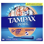 Tampax Pearl Tampons with Pearl Plastic Applicator, Unscented, Super Plus, 36