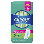 Always Ultra Thin Pads With Wings, Long, Unscented, Super- 32 ea
