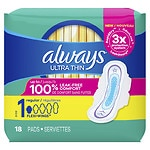 Always Ultra Thin Pads, Regular with Flexi-Wings- 18 ea