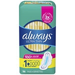 Always Ultra Thin Pads with Wings, Unscented, Regular