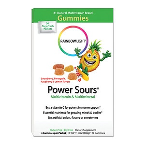 Rainbow Light Gummy Power Sours Multivitamin with Extra Vitamin C for Active Kids, Sour Fruit, 30 packets