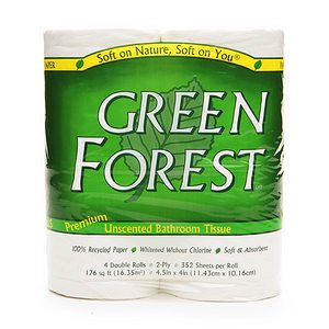 Green Forest Double Roll Premium Bathroom Tissue, 4 pk, Unscented
