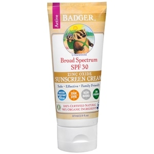 Badger Unscented Sunscreen, SPF 30- 2.9 oz