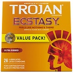 Trojan Ecstasy Latex Condoms, Ultrasmooth Lubricant