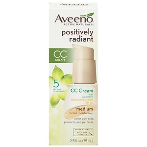 Aveeno Active Naturals Positively Radiant CC Cream Tinted Moisturizer, Medium