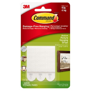 Command Strips Damage Free Hanging:  Picture, Frame & Poster Hanging Strips, Medium- 3 set