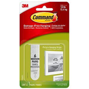 Command Strips Damage-Free Hanging:  Picture Hanging Strips, 6 medium- 6 set