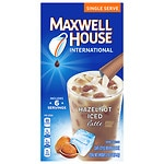 Maxwell House International Cafe Iced Latte Cafe-Style Beverage Mix, Single Serve Packets, Hazelnut, 6 pk- .57 oz