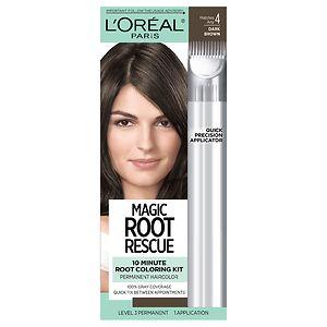 L'Oreal Paris Root Rescue 10 Minute Root Coloring Kit, Dark Brown 4- 1 ea