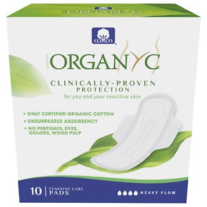 ORGANYC Organic Cotton Pads, Folded, Heavy Flow Night, 10 ea