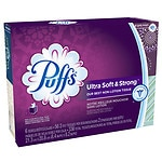 Puffs Ultra Soft & Strong Facial Tissues, 6 boxes (56 count each)