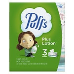 Puffs Plus Lotion Facial Tissues, 3 boxes (124 count each)