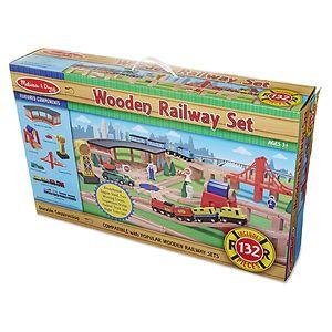 Melissa and Doug Wooden Railway Set Ages 3+- 1 ea