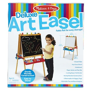 Melissa and Doug Deluxe Wooden Standing Art Easel Ages 3 +- 1 ea