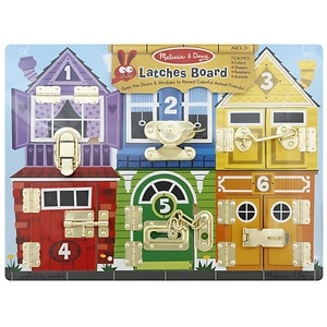 Melissa and Doug Latches Board, Ages 3+- 1 ea