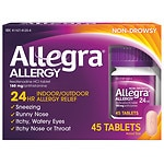 Allegra 24 Hour Allergy, 180mg Tablets- 45 ea