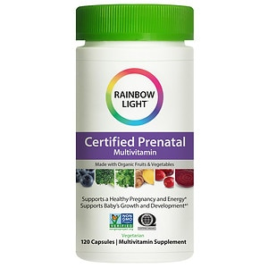 Rainbow Light Certified Organic Prenatal Multivitamin, Vegetarian Capsules- 120 ea