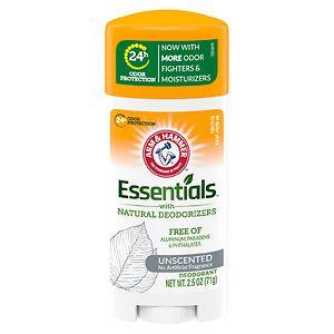 Arm & Hammer Essentials Deodorant with Natural Deodorizers, Unscented- 2.5 oz