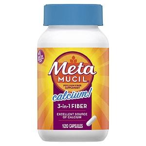 Metamucil Psyllium Fiber Capsules + Calcium- 120 ea