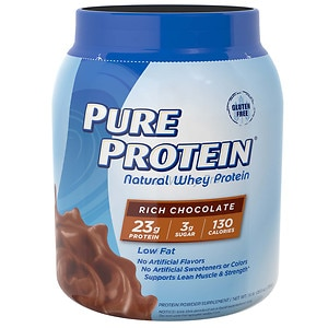 Pure Protein 100% Natural Whey Protein, Rich Chocolate- 25.6 oz